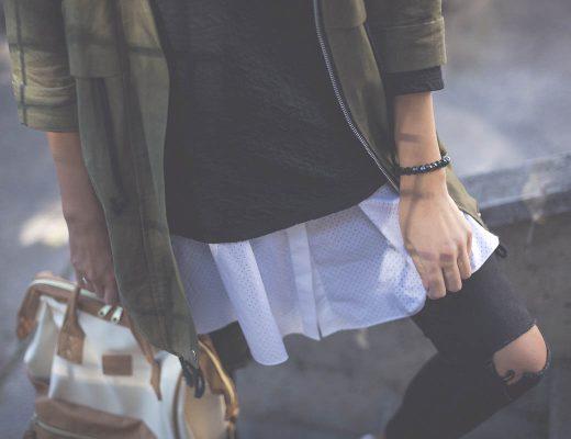 Fashionblog Tirol, grüner Parka, weiße Bluse und Anello Rucksack